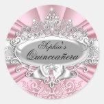 Pegatina rosado de Quinceanera de la tiara y del