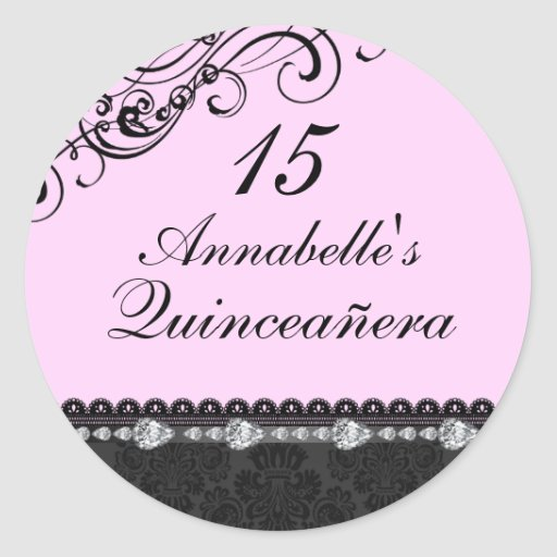 Pegatina rosado de Quinceanera del diamante y del