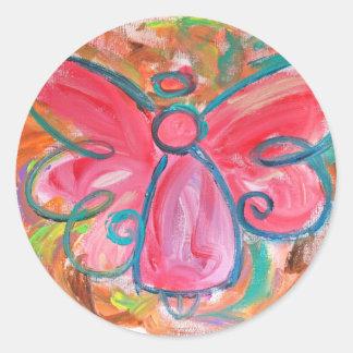 Pegatina rosado del ángel