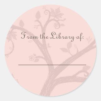Pegatina rosado del Bookplate del árbol