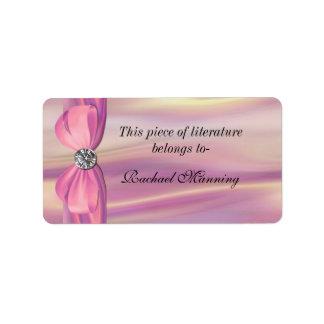 Pegatina rosado del Bookplate del satén Etiquetas De Dirección