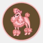 Pegatina rosado del caniche
