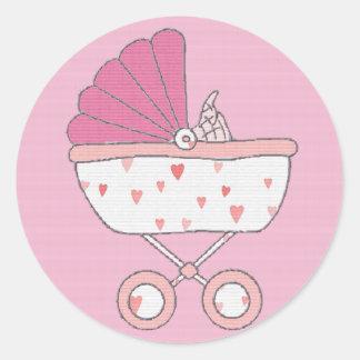 Pegatina rosado del carro de bebé