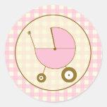 Pegatina rosado del carro de bebé de la guinga