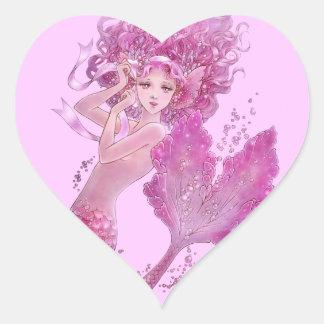 Pegatina rosado del corazón de la sirena de la
