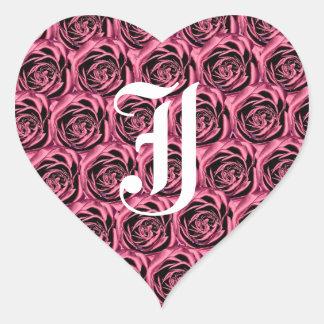 Pegatina rosado del corazón de los rosas de la