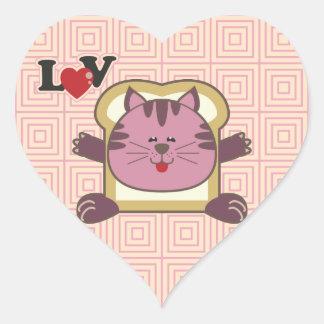 Pegatina rosado del corazón del gato que empana
