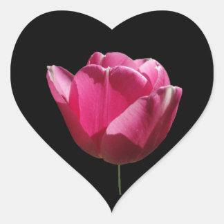 Pegatina rosado del corazón del tulipán