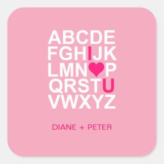 Pegatina rosado del corazón te amo