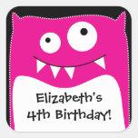 Pegatina rosado del cuadrado del cumpleaños del go
