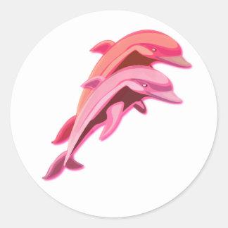 Pegatina rosado del diseño del delfín
