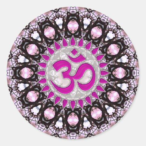 Pegatina rosado del espiritual de Aum de las gemas
