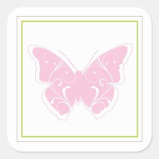Pegatina rosado del favor de la fiesta de