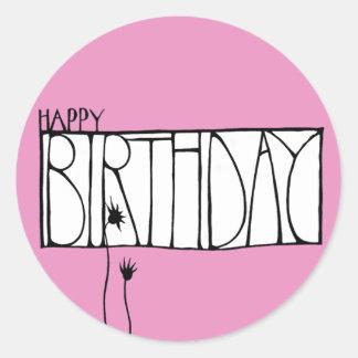 Pegatina rosado del feliz cumpleaños