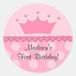 Pegatina rosado del feliz cumpleaños de princesa