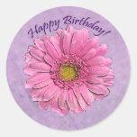 Pegatina rosado del feliz cumpleaños del Gerbera