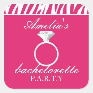 Pegatina rosado del fiesta de Bachelorette de la