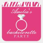 Pegatina rosado del fiesta de Bachelorette de la c
