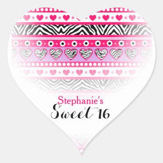Pegatina rosado del fiesta del dulce 16 del corazó