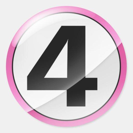 Pegatina rosado del número 4