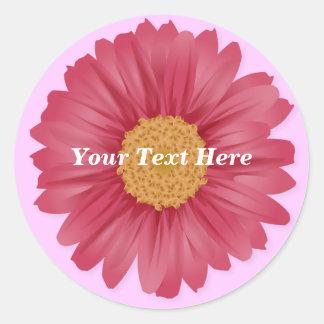 Pegatina rosado del personalizable de la margarita