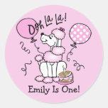 Pegatina rosado del personalizado del cumpleaños d