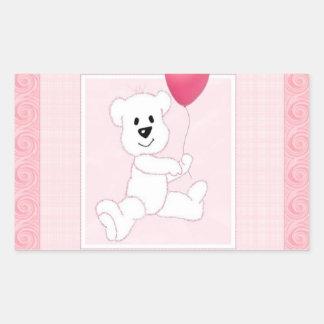 Pegatina rosado del rectángulo de Cub del oso