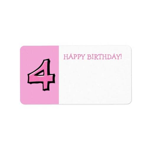 Pegatina rosado del regalo de cumpleaños de los etiquetas de dirección