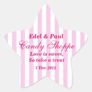 Pegatina rosado del Shoppe del caramelo del boda