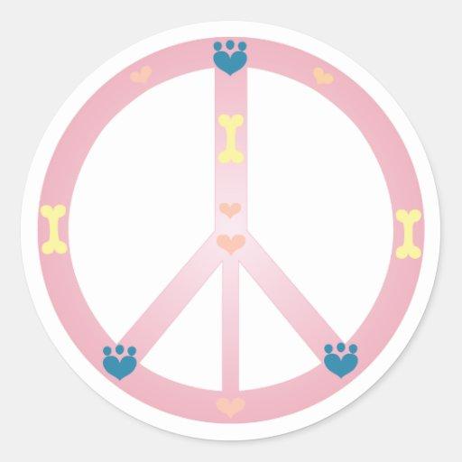 Pegatina rosado del signo de la paz del perrito