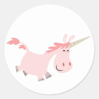 Pegatina rosado del unicornio del dibujo animado