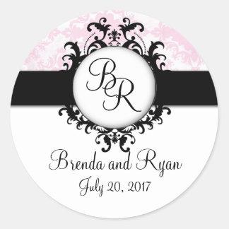 Pegatina rosado elegante del boda de la inicial