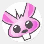 Pegatina rosado extraño del conejito