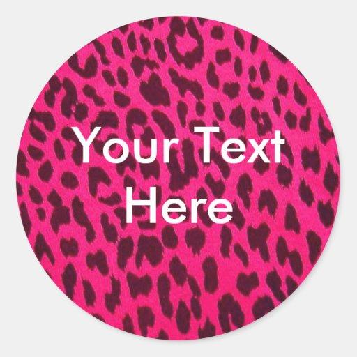 Pegatina rosado llano del estampado leopardo