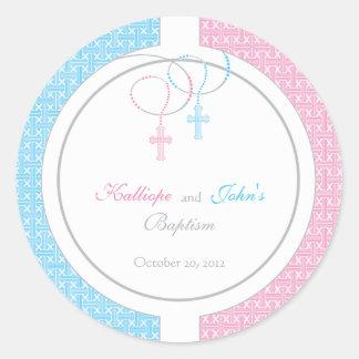 Pegatina rosado y azul del favor del bautismo