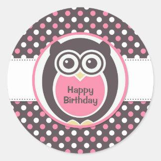 Pegatina rosado y blanco del cumpleaños del búho