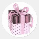 Pegatina rosado y negro del regalo