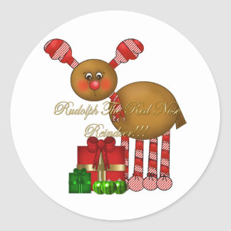Pegatina-Rudolph el reno rojo de la nariz Pegatina Redonda