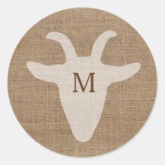 Pegatina rústico de la arpillera del monograma de