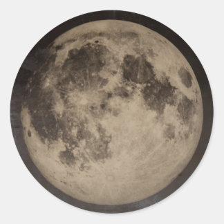 Pegatina rústico de la luna del vintage