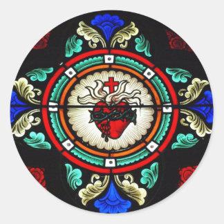 Pegatina sagrado del vitral del corazón