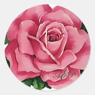 Pegatina/sello color de rosa florales bonitos del pegatina redonda