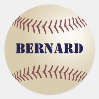 Pegatina/sello del béisbol de Bernard Pegatina Redonda
