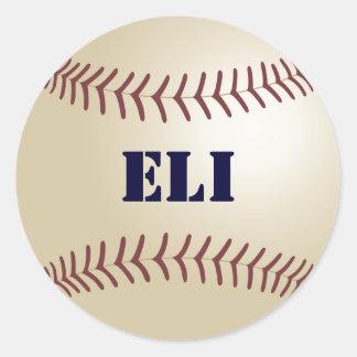Pegatina/sello del béisbol de Eli Pegatina Redonda