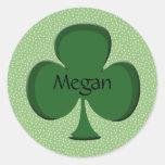 Pegatina/sello del nombre del trébol de Megan
