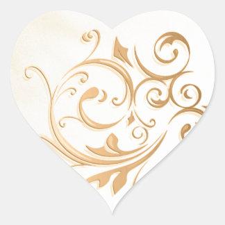 Pegatina/sello del remolino del oro pegatina en forma de corazón