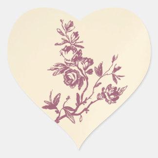 Pegatina/sello florales del boda del rosa color de pegatina en forma de corazón