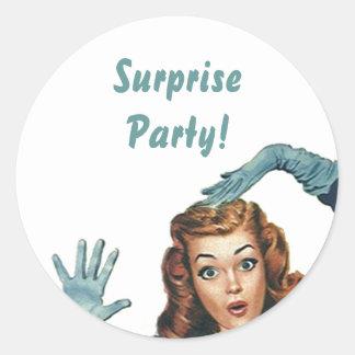 Pegatina Shh… Sellos retros del fiesta de sorpresa