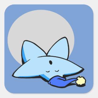 Pegatina soñoliento de la estrella azul