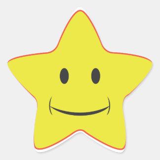 Pegatina sonriente amarillo de la estrella